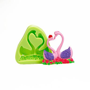 szerelmesek hattyú szilikon öntőforma csokoládé polimer agyag sugarcraft eszközök torta dekorációk penész színe véletlenszerű