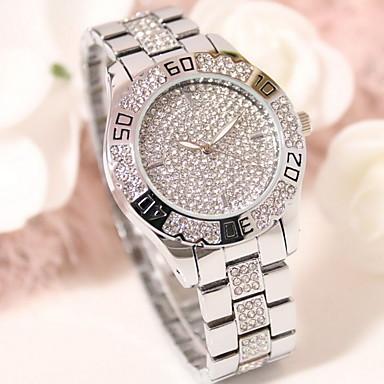 여성용 패션 시계 페이브 시계 석영 일본 쿼츠 / 스테인레스 스틸 밴드 스파클 실버 골드