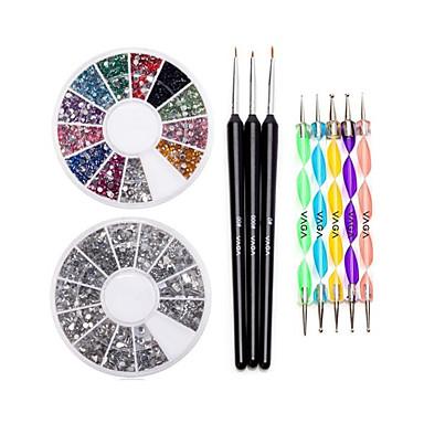 네일 12 색 보석 펜 세트를 찍는 휘일&브러쉬 세트