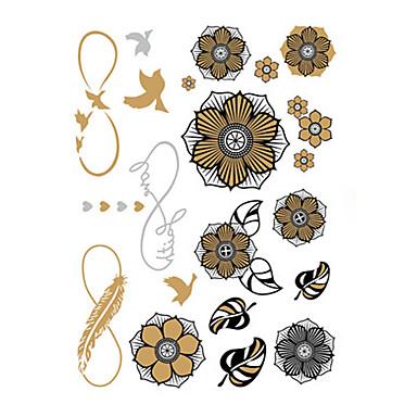 1 Non Toxic Waterproof 웨딩 금속 꽃 시리즈 타투 스티커