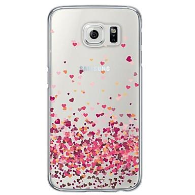 Недорогие Чехлы и кейсы для Galaxy S6-Кейс для Назначение SSamsung Galaxy S6 / S5 / S4 Прозрачный / С узором Кейс на заднюю панель С сердцем Мягкий ТПУ