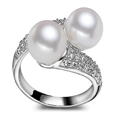 Gyűrűk,Vallomás gyűrűk,Ékszerek Gyöngy / Ezüst / Cirkonium Crossover / Divatos / Állítható / Imádni való / SzemélyiségEsküvő / Parti /