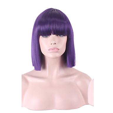 여성 잛은 중 금발 블루 그레이 어두운 무늬 New Purple 스트레이트 밥 헤어컷 인조 합성 헤어 캡 가발 의상 가발
