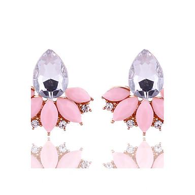 Kadın's Vidali Küpeler Kristal Geometrik kostüm takısı Çiçekli Kristal alaşım Flower Shape Mücevher Uyumluluk Parti Günlük