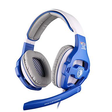 SADES WCG 귀 이상 머리띠 유선 헤드폰 동적 플라스틱 게임 이어폰 소음 차단 마이크 포함 볼륨 컨트롤 헤드폰