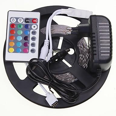 5m 16.4ft RGB 300x5630 SMD LED 유연한 LED 라이트 스트립 + 24 키 적외선 12V 2A 전원 공급 장치 AC100-240V