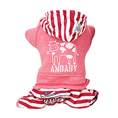 Hond Hoodies Jumpsuits Hondenkleding Casual/Dagelijks Modieus Gestreept Grijs Rood Kostuum Voor huisdieren