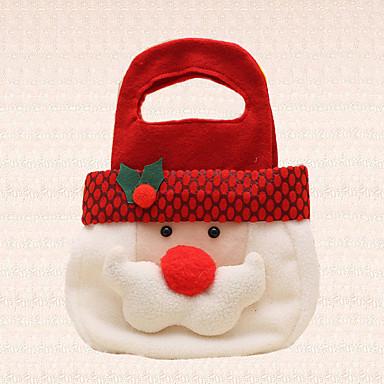 1db aranyos mikulás fej karácsonyi kézzel cukorka táska dekoráció ünnep édesség ajándék party