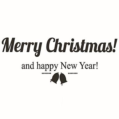 크리스마스 / 워드&인용구(부호) / 모양 벽 스티커 플레인 월스티커 데코레이티브 월 스티커,PVC 자료 물 세탁 가능 / 이동가능 / 재부착가능 홈 장식 벽 데칼