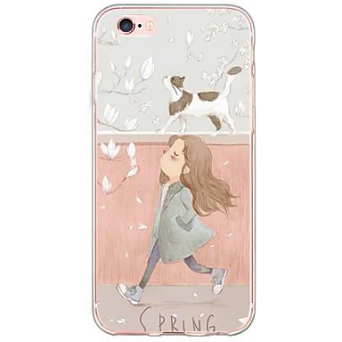 voordelige iPhone 5 hoesjes-hoesje Voor Apple iPhone 6s Plus / iPhone 6s / iPhone 6 Plus Ultradun / Doorzichtig Achterkant Kat Zacht TPU
