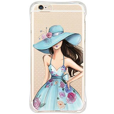 Mert iPhone 6 tok iPhone 6 Plus tok tokok Ütésálló Porálló Minta Hátlap Case Szexi lány Puha TPU mert AppleiPhone 6s Plus iPhone 6 Plus