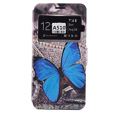 Mert Samsung Galaxy tok Kártyatartó / Ütésálló / Porálló / Állvánnyal Case Teljes védelem Case Pillangó Puha Műbőr SamsungA9(2016) /