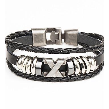 voordelige Heren Armband-Heren Lederen armbanden Touw Gedraaid geweven Punk Leder Armband sieraden Zwart / Bruin Voor Dagelijks Causaal