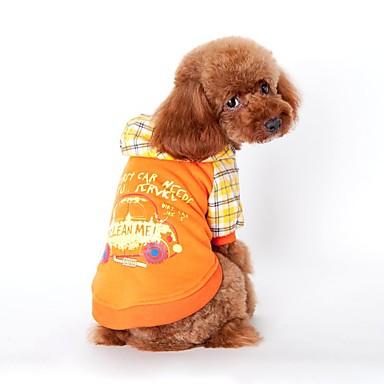 고양이 개 후드 강아지 의류 겨울 모든계절/가을 격자 무늬 / 체크 휴일 패션 오렌지 블루