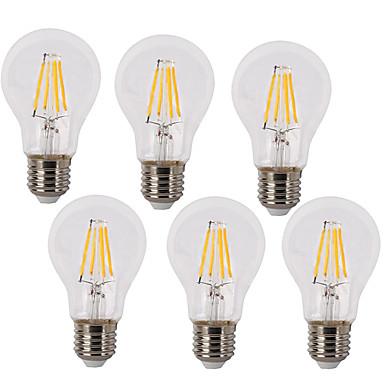 6pcs 4 W 400 lm E26 / E27 LED Λάμπες Πυράκτωσης A60(A19) 4 LED χάντρες COB Αδιάβροχη Διακοσμητικό Θερμό Λευκό Ψυχρό Λευκό 220-240 V / 6 τμχ / RoHs