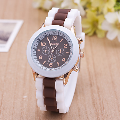 Women's Wrist watch Casual Watch Quartz / Silicone Band Casual Black White Blue Red Brown Green Pink Purple Beige Rose