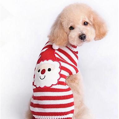 고양이 강아지 스웨터 강아지 의류 귀여운 크리스마스 새해 스트라이프 레드 코스츔 애완 동물