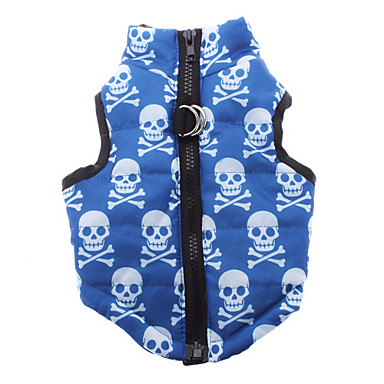 cheap Dog Clothing & Accessories-Dog Coat Dog Clothes Skull Blue Woolen Nylon Costume For Winter Men's Women's Casual / Daily