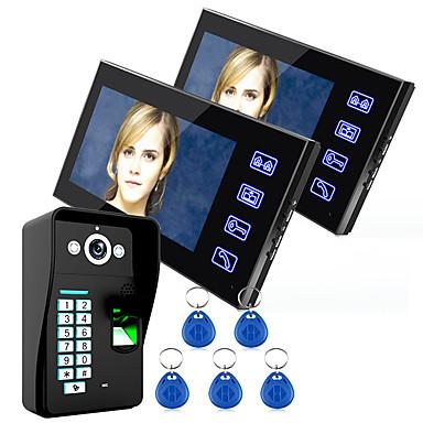 ieftine Sisteme de Control Acces-Ennio atingeți tasta 7 LCD sistem telefonic usa de amprente interfon video wth control acces cu amprentă digitală 1 camera de 2 monitor
