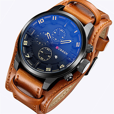 CURREN Men's Quartz Wrist Watch / Military Watch / Sport Watch Calendar / date / day Leather Band Luxury / Vintage / Casual / Fashion