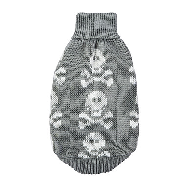 cheap Dog Clothing & Accessories-Dog Sweater Dog Clothes Skull Black Gray Red Cotton Costume For Winter Men's Women's Keep Warm