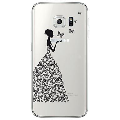 Kılıf Na Samsung Galaxy Samsung Galaxy S7 Edge Przezroczyste / Wzór Czarne etui Seksowna dziewczyna Miękkie TPU na S7 edge / S7 / S6 edge