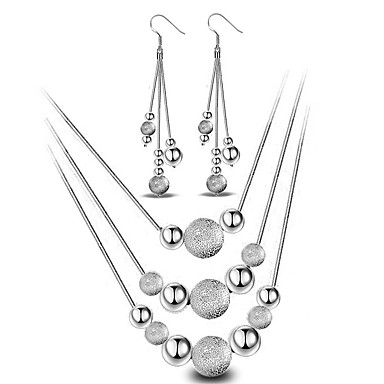 Women's Jewelry Set Drop Earrings Pendant Necklace Sterling Silver Ball Basic Fashion Simple Style Wedding Party Daily Casual Earrings