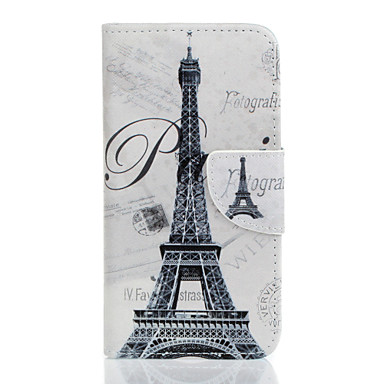 Kılıf Na Samsung Galaxy Samsung Galaxy Etui Etui na karty Portfel Z podpórką Flip Wzór Wytłaczany wzór Pełne etui Wieża Eiffla Twarde