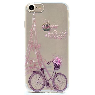 Case Kompatibilitás Apple iPhone 5 tok iPhone 6 iPhone 7 Minta Fekete tok Eiffel torony Puha TPU mert iPhone 7 Plus iPhone 7 iPhone 6s