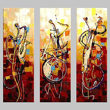 Pintados à mão Abstrato Qualquer Forma,Clássico Tradicional 3 Painéis Pintura a Óleo For Decoração para casa