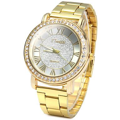 billige Dameure-Herre Armbåndsur Diamantbelagt ur Diamond Watch Quartz Rustfrit stål Guld Imiteret Diamant / Analog Damer Vintage Afslappet Simuleret Diamond Watch Mode - Guld Et år Batteri Levetid / SSUO LR626