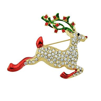 크리스마스 모조 다이아몬드 사슴 모양 브로치