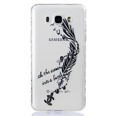 Case Kompatibilitás Samsung Galaxy J7 (2016) J5 (2016) Átlátszó Dombornyomott Minta Hátlap Tollak Puha TPU mert J7 (2016) J5 (2016) J5 J3
