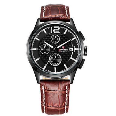 זול שעוני גברים-LONGBO בגדי ריקוד גברים שעון יד קווארץ עור שחור עמיד במים זוהר בחושך אנלוגי קלסי יום יומי - שחור / חום שחור / כחול / מתכת אל חלד
