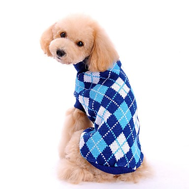 cheap Dog Clothing & Accessories-Cat Dog Costume Coat Sweater Dog Clothes Plaid / Check Green Pink Light Blue Acrylic Fibers Costume For Spring &  Fall Winter Men's Women's Cosplay Birthday Holiday / Windproof