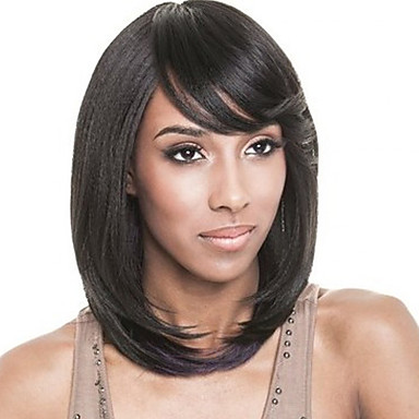 Włosy syntetyczne Peruki Prosta Bez czepka Peruka naturalna Czarny