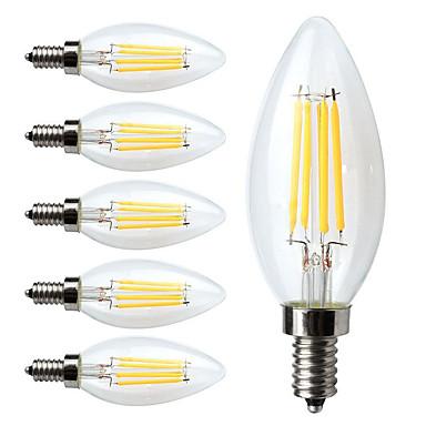 KWB 6pcs 4W 400 lm E14 LED Filament Bulbs C35 4 leds COB Dimmable Decorative Warm White AC 220-240 V