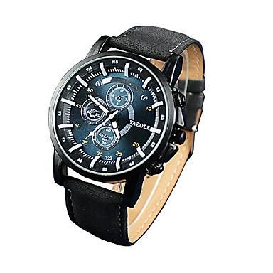 남성용 석영 손목 시계 야광 야광의 가죽 밴드 캐쥬얼 드레스 시계 패션 블랙 브라운