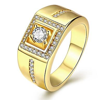 Férfi Gyűrű Szerelem Személyre szabott luxus ékszer jelmez ékszerek Kocka cirkónia Réz Ezüstözött Arannyal bevont Geometric Shape Ékszerek