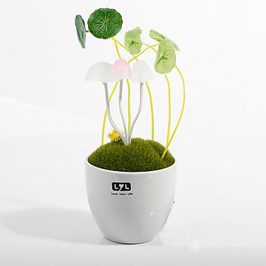 새로운 냄비에 버섯 램프 세라믹 수지 야간 조명 전구 센서 램프 미니 침실 램프 에너지 절약 주도