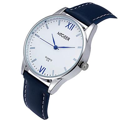 남성용 석영 손목 시계 / 캐쥬얼 시계 가죽 밴드 캐쥬얼 멋진 블랙 블루 브라운