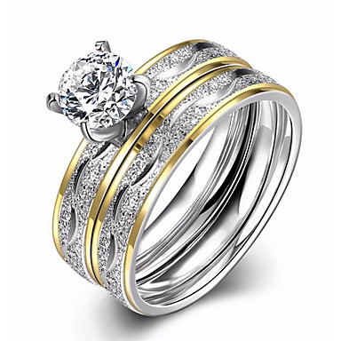 Női Kocka cirkónia Cirkonium / Titanium Acél Eljegyzési gyűrű / Band Ring - Circle Shape Szerelem / Divat / Európai Ezüst Gyűrű