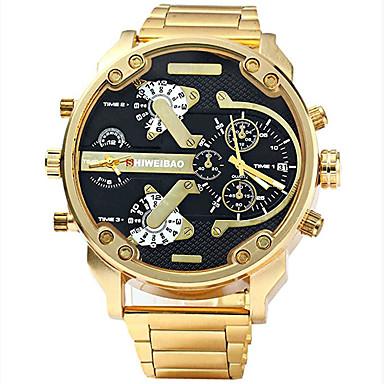 30b990400660 Hombre Reloj Deportivo Reloj Militar Reloj Pulsera Acero Inoxidable Negro    Dorado Resistente al Agua Calendario