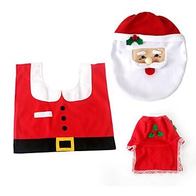 1 세트 홈 stia의 부직포 산타 화장실 설정 크리스마스 장식의 변기 시트 커버 티슈 박스 커버 탱크 커버 깔개 크리스마스 장식