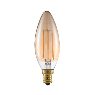 2W E12 LED Filament Bulbs B10 2 COB 160 lm Amber Dimmable / Decorative 120V 1 pcs