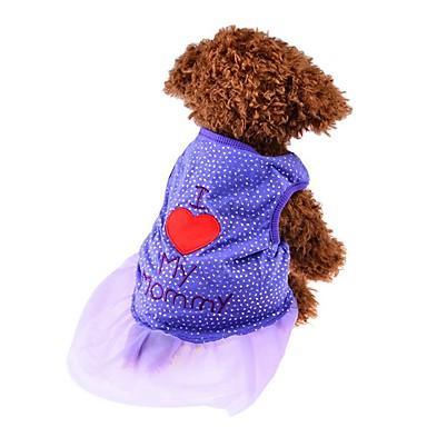 고양이 강아지 티셔츠 드레스 강아지 의류 귀여운 패션 심장 블랙 퍼플 핑크 코스츔 애완 동물
