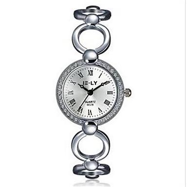 아가씨들 패션 시계 손목 시계 팔찌 시계 방수 스톱워치 모조 다이아몬드 라인석 석영 합금 밴드 참 캐쥬얼 우아한 실버
