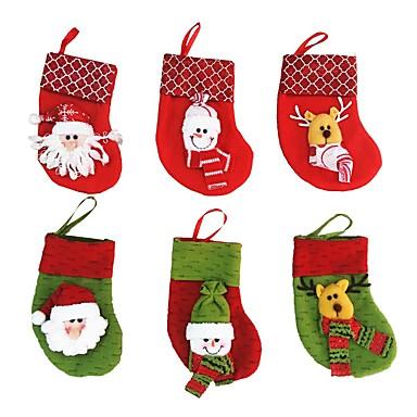 6 sztuk / partia ozdoby choinkowe Świętego Mikołaja&bałwan&jelenie świąteczne pończochy (losowy kolor)