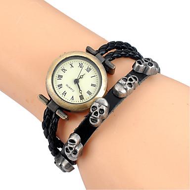 Жен. Часы-браслет Наручные часы Кварцевый Cool Кожа Группа Аналоговый Винтаж На каждый день Череп Черный / Коричневый / Роуз - Розовый Коричневый Зеленый