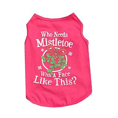 Chat Chien Tee-shirt Gilet Vêtements pour Chien Lettre et chiffre Rouge Rose Coton Costume Pour les animaux domestiques Homme Femme
